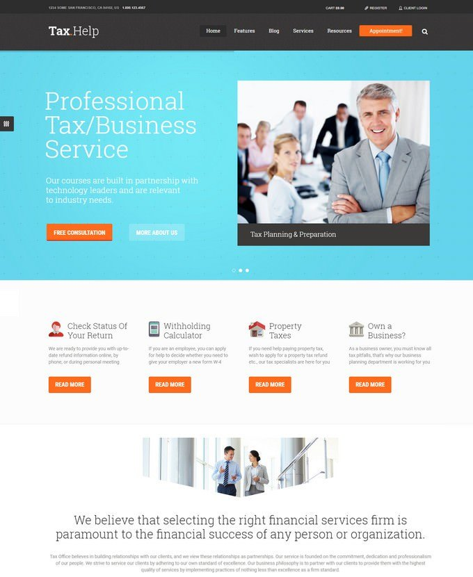Tax Help Finance & Accounting WordPress Theme