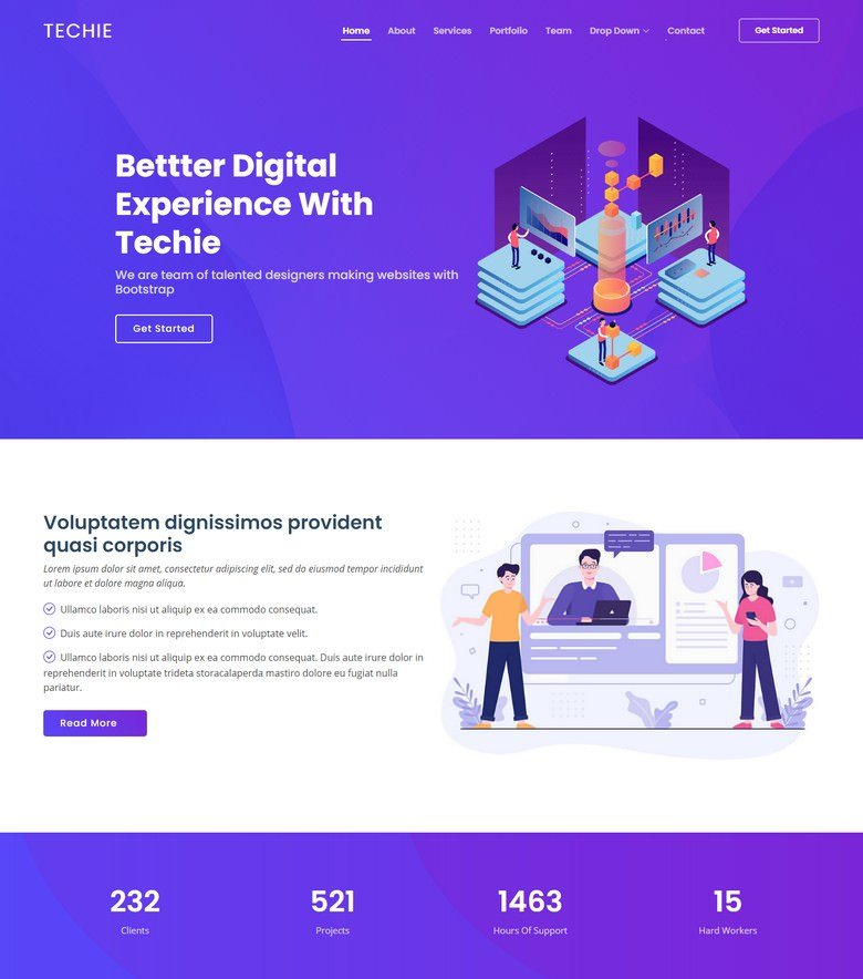 Techie - Modern Bootstrap Startup Template