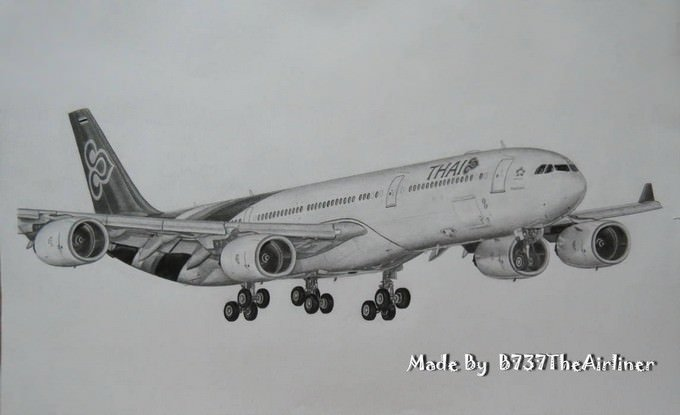 Thai Airways A340-500 Drawing