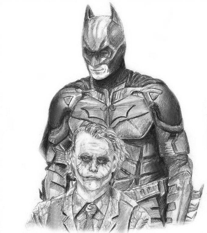 The Dark Knight - Batman and Joker Drawing