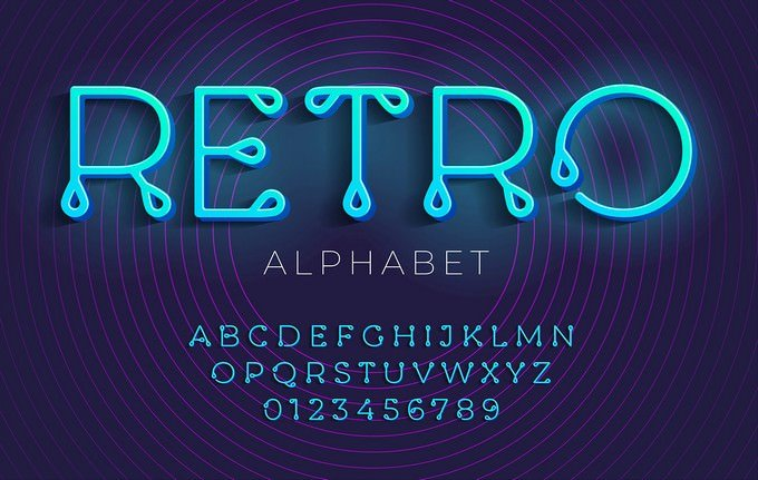Thin Stylized Retro Alphabet And Font With A Loops