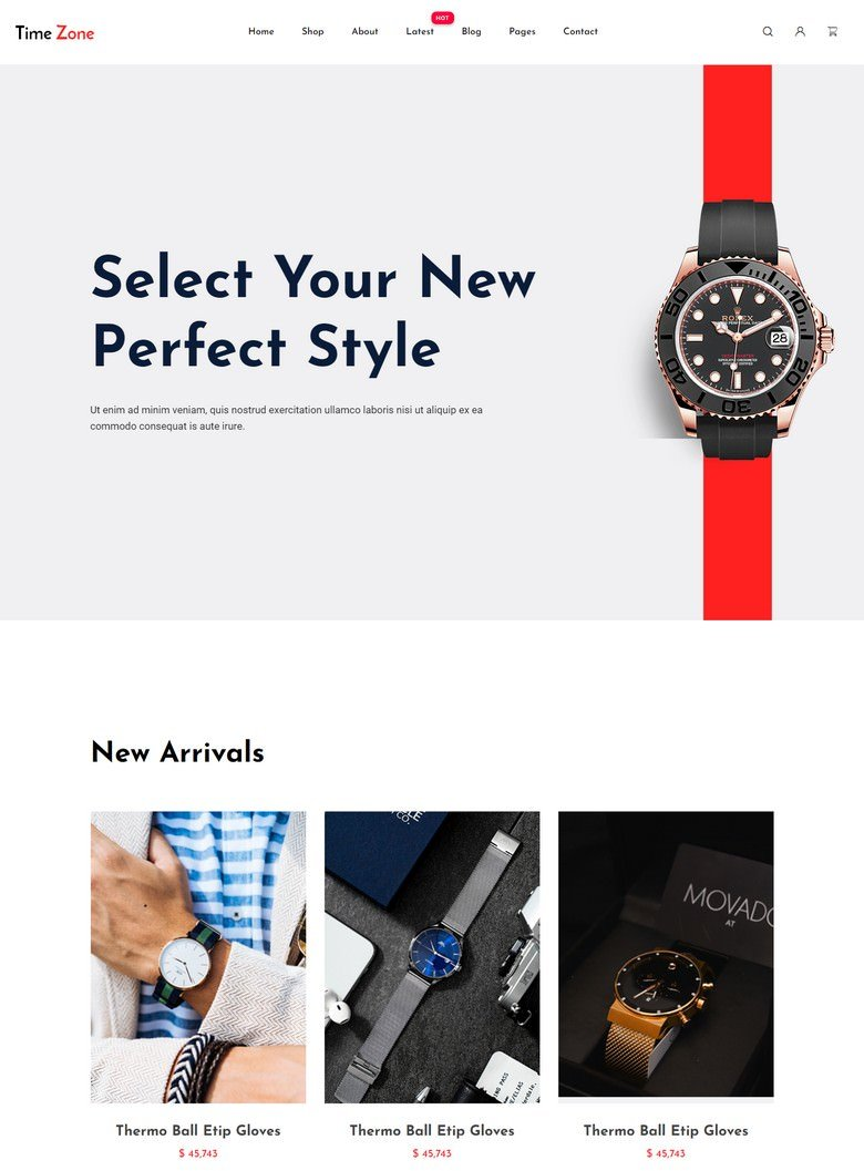 TimeZone - Free Bootstrap 4 HTML5 Ecommerce Website Template