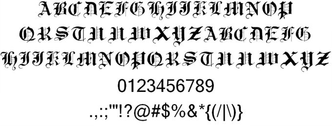 Traditional Gothic, 17th c. Font