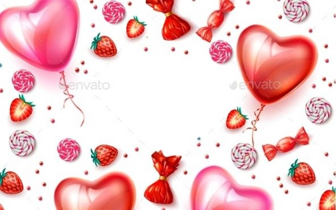 Vector Happy Valentine Day Heart Balloon Candy