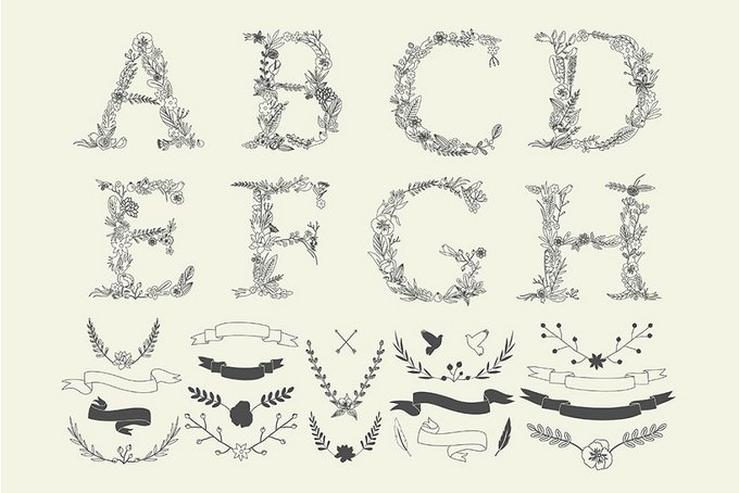 Vintage Alphabet + Decor Elements
