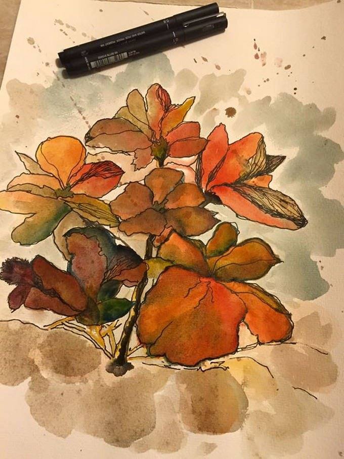 Water Colour Flower Drawing