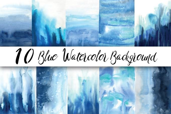 Watercolor Flow Blue Background