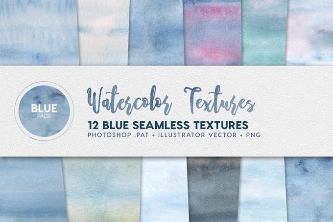 Watercolor Seamless Textures Blue