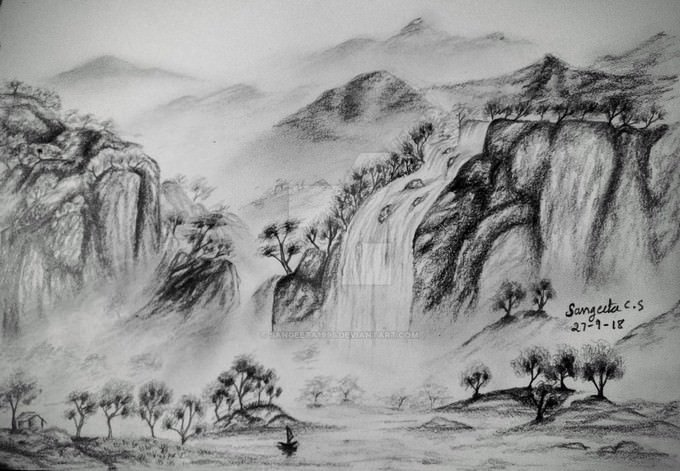 Waterfall Over The Mountains Drawing