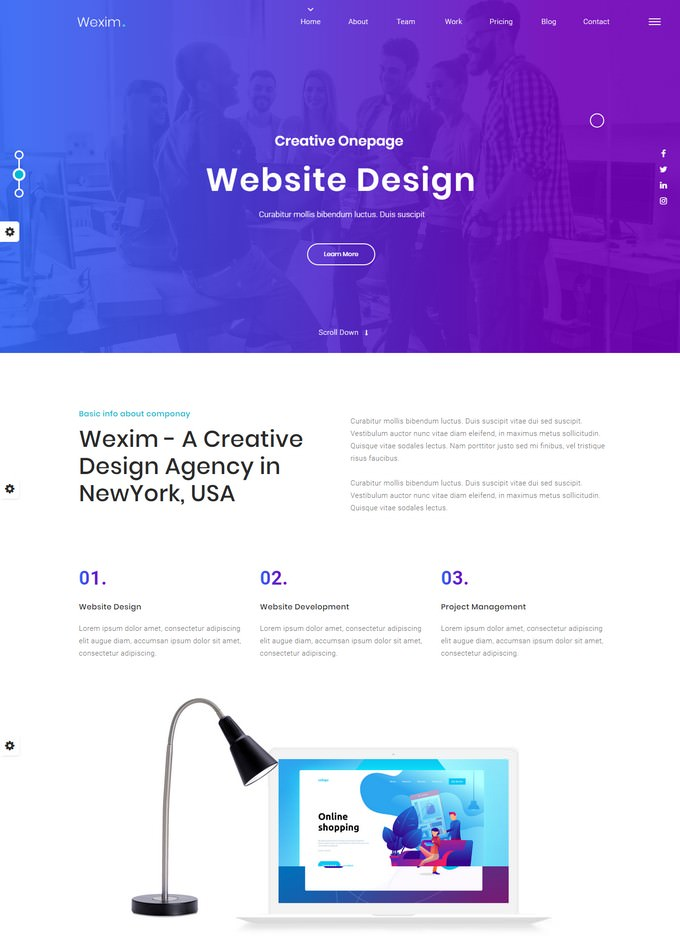 Wexim - One Page Parallax Template
