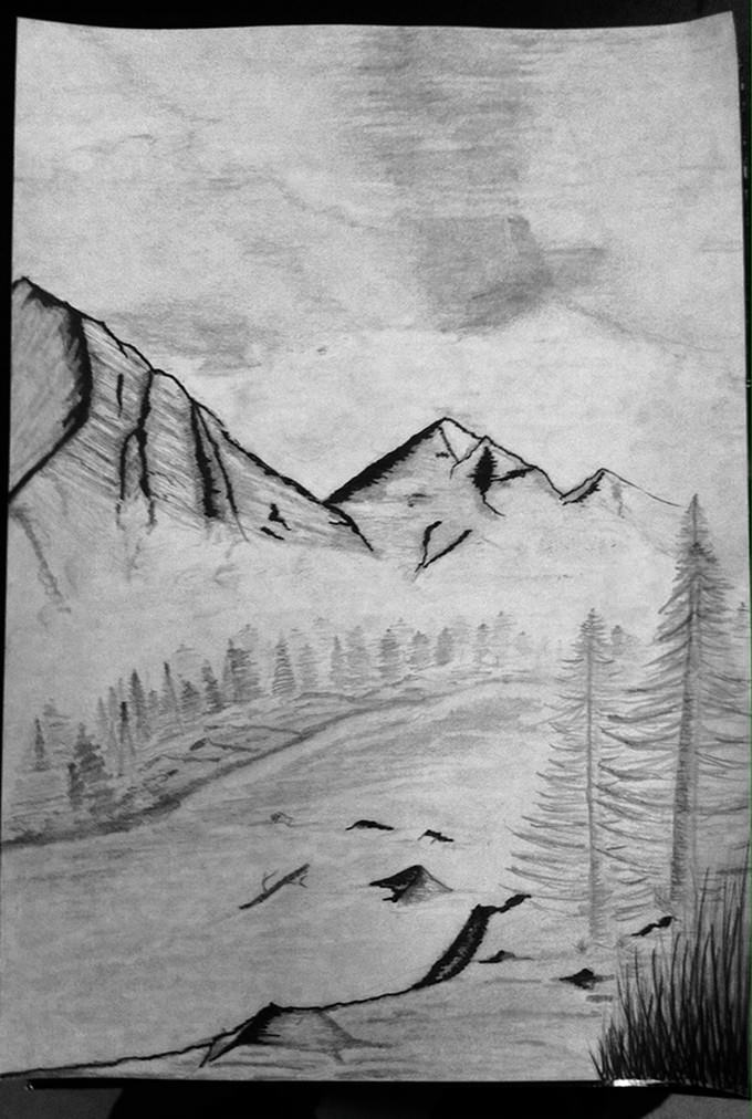 Winter Mountain Drawing