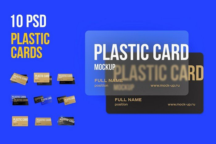 10 PSD Plastic Card mockup