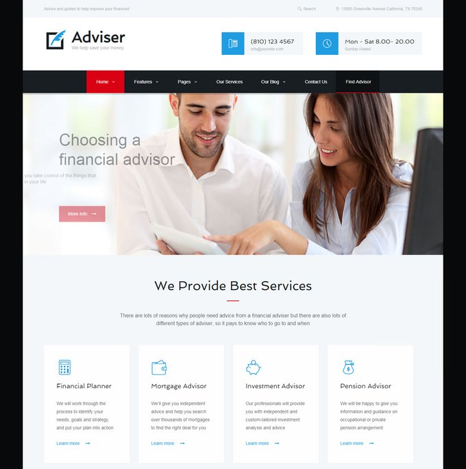 Adviser Finance & Accounting HTML Theme