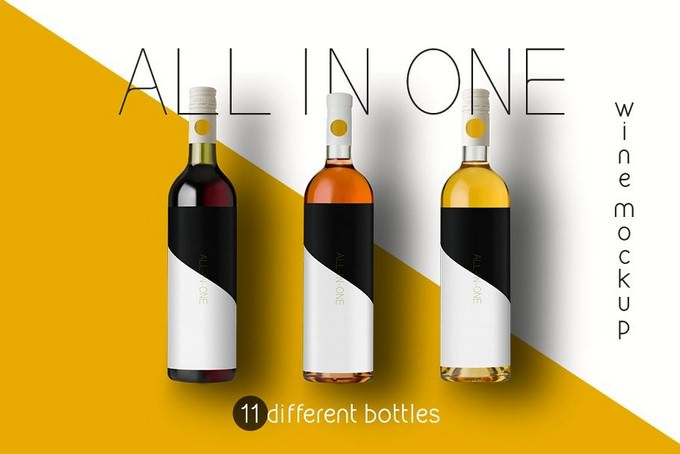 All-In-One Wine Glass Bottle Mockup