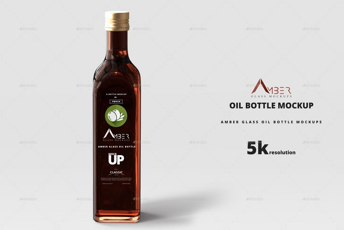 Amber Glass Oil Bottle Mockup