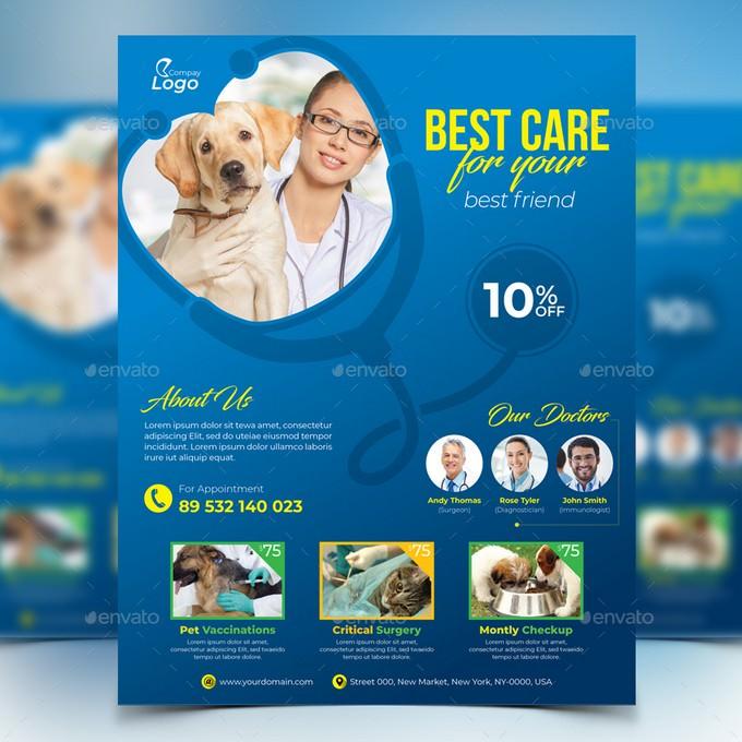Best Care Pet Clinic Flyer template