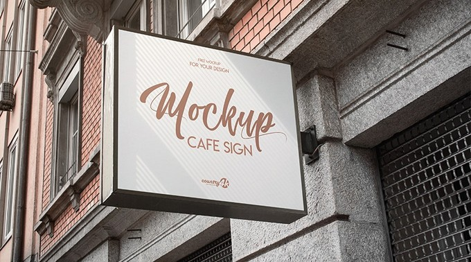 Free Cafe Sign PSD MockUp in 4k