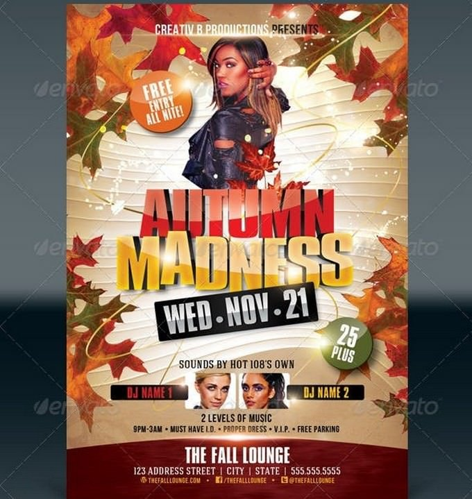 Free Entry Autumn Party Flyer Template