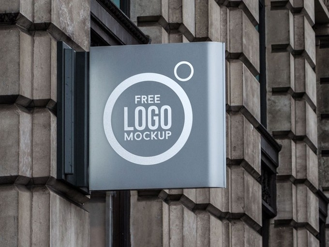 Wall Sign Logo Mockup PSD