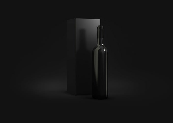 Free Black Bottles and Box Mockup PSD