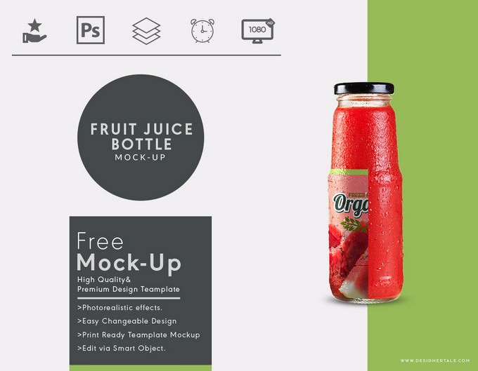 Fruit Juice Glass Container Mockup