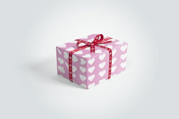 Gift Box With Ribbons Mockup