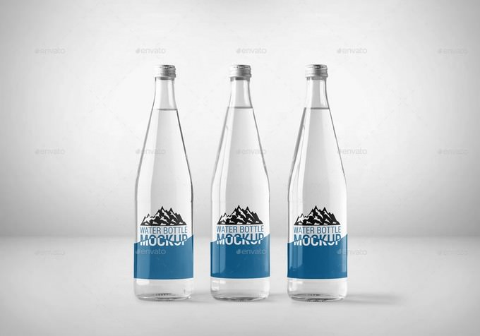 Glass Water-bottle PSD Mockup