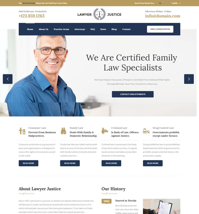 Lawyer & Justice - HTML Template for Lawyers Attorneys and Law Firm