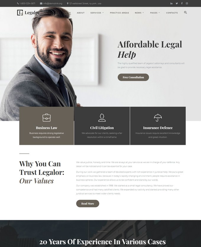 Classy Law Company Responsive Website Template