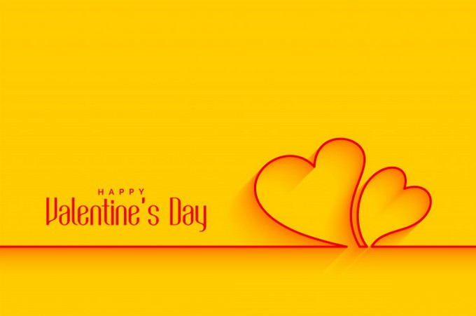 Minimal Line Hearts Shapes Yellow Background