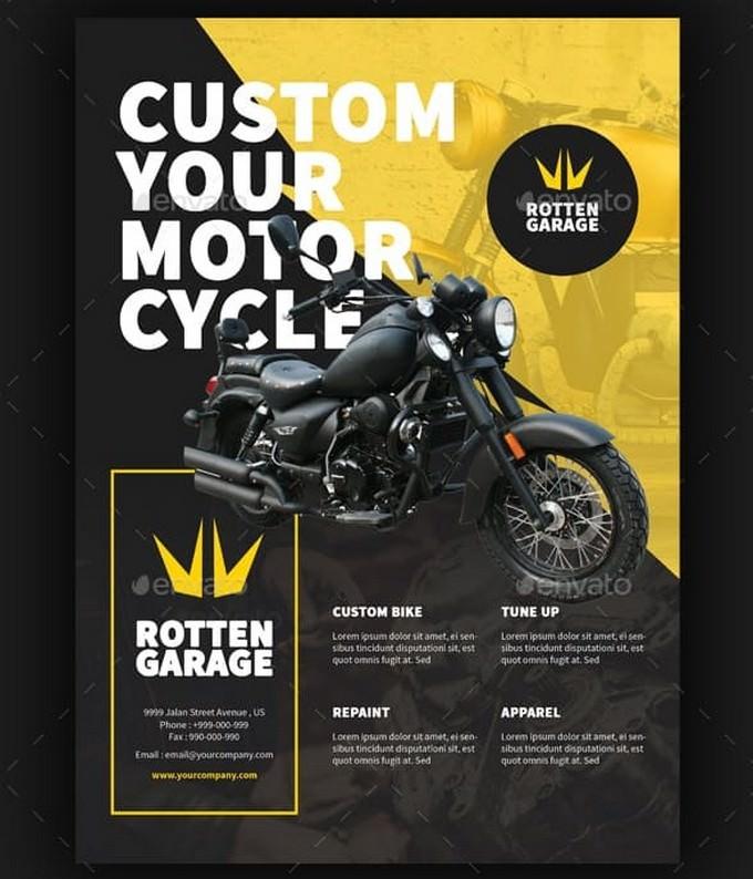 Motorcycle Custom Garage Flyer Template
