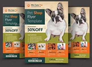 Pet Care Shop Flyer Template