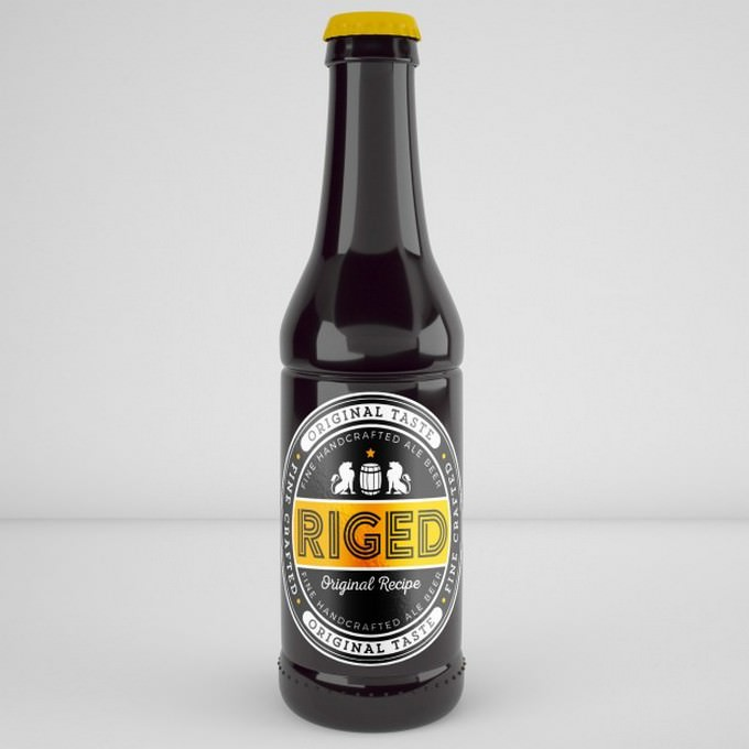 Realistic Beer Bottle Mockup Free