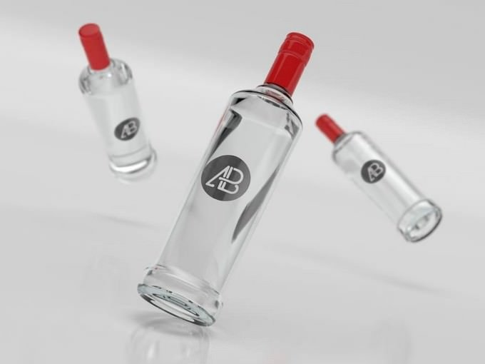 Vodka Glass Bottle Branding Mockup