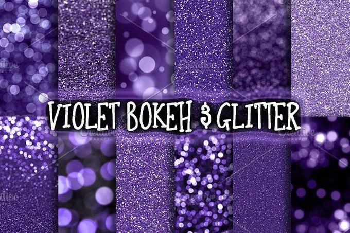 Violet Bokeh & Glitter Backgrounds