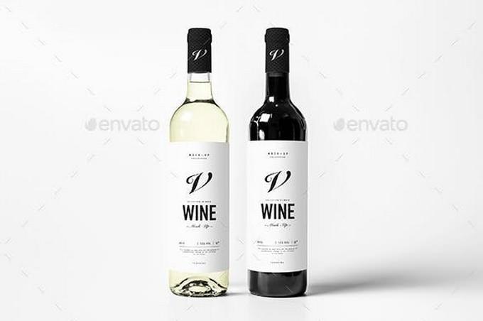Wine Bottle Mock-up Template
