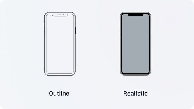 iPhone X Outline Mockups