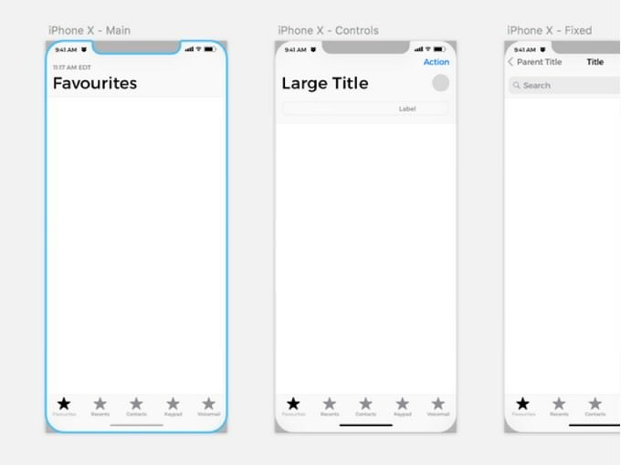 iPhone X Wireframe Kit