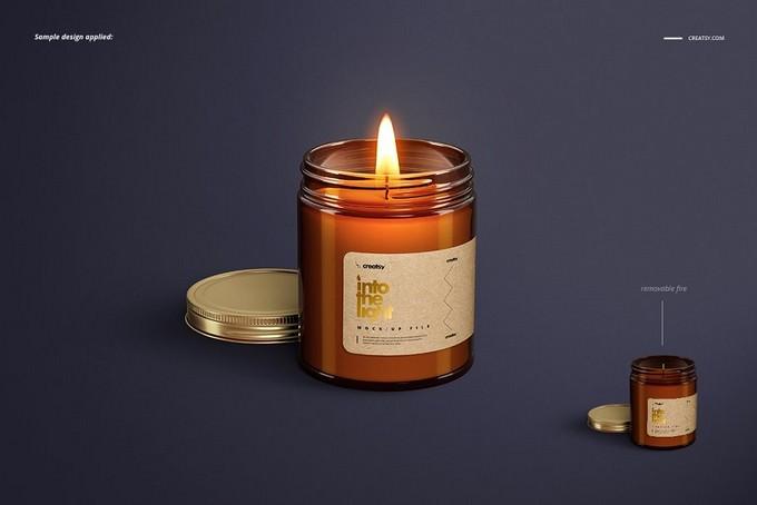 Amber Jar Candle Mockup