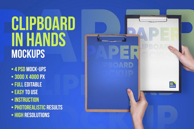 Clipboard in Hands PSD