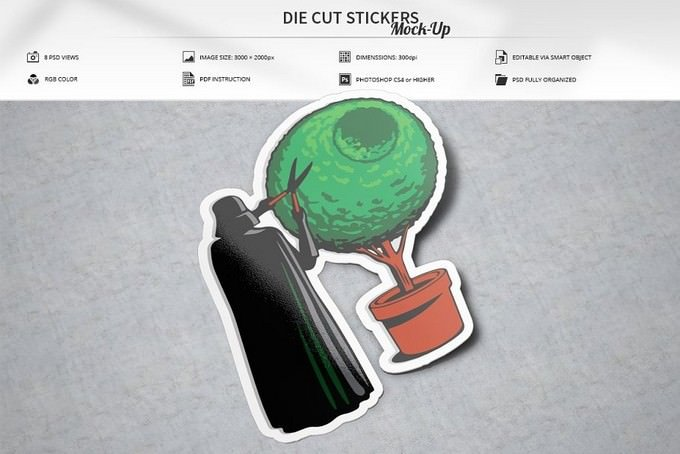 Die Cut Stickers Mock-Up