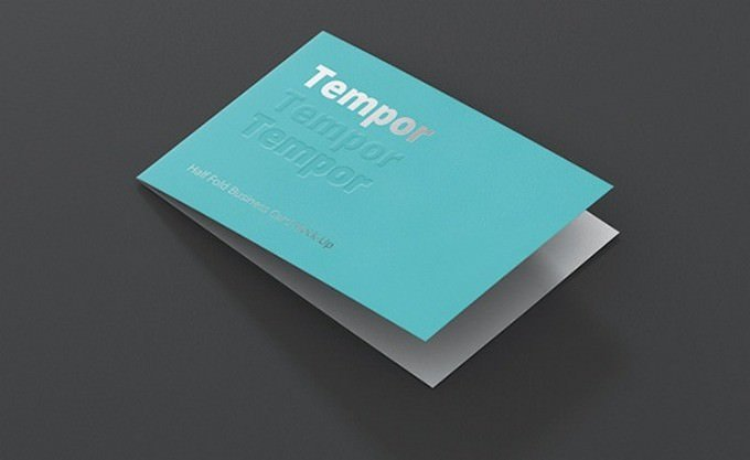 Folded Business Card Mockup 3