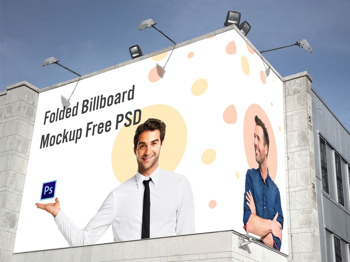 Folded Billboard Mockup