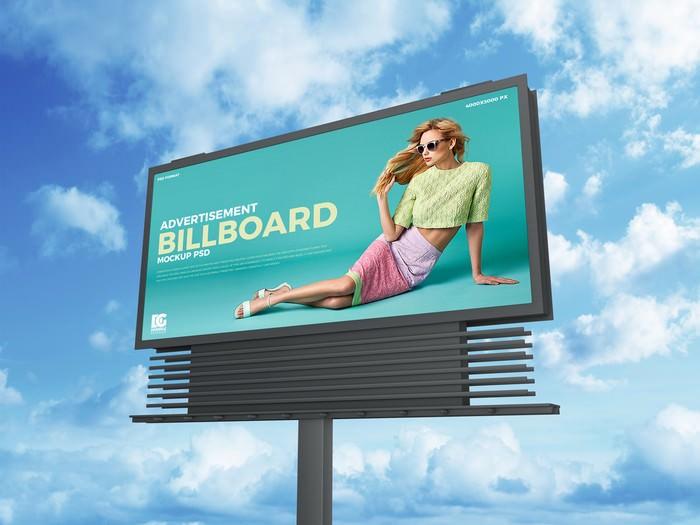 Sky Advertisement Billboard Mockup