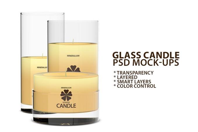 Glass Candle PSD Mock-ups