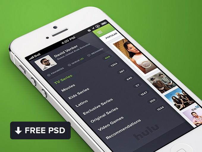 Hulu iPhone App PSD template