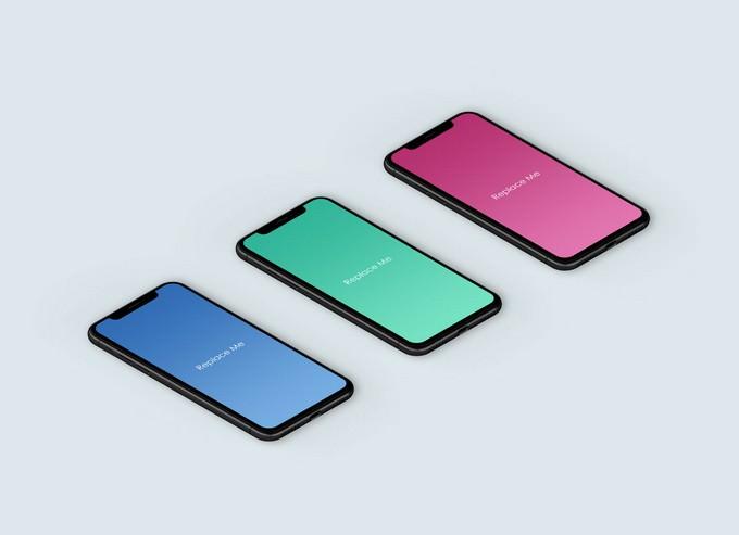Isometric PSD iPhone X App