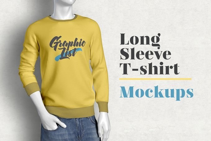 Long Sleeve T-shirt Clothing Mockup