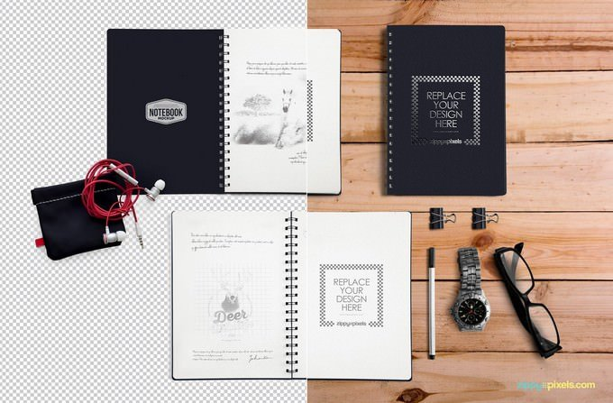 Notebook Mockup With Movable
