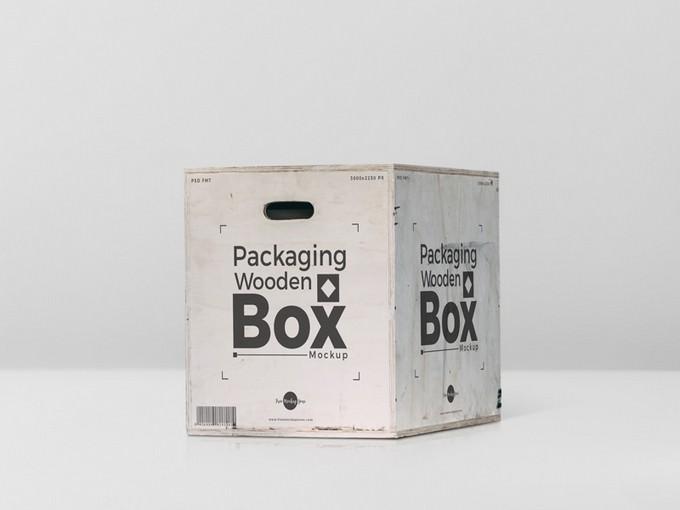Packaging Wooden Box Mockup